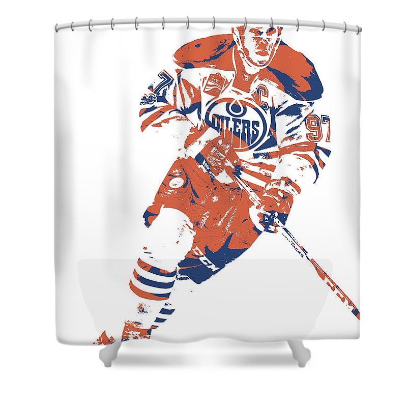 Connor Mcdavid Shower Curtain featuring the mixed media Connor Mcdavid Edmonton Oilers Pixel Art 6 by Joe Hamilton