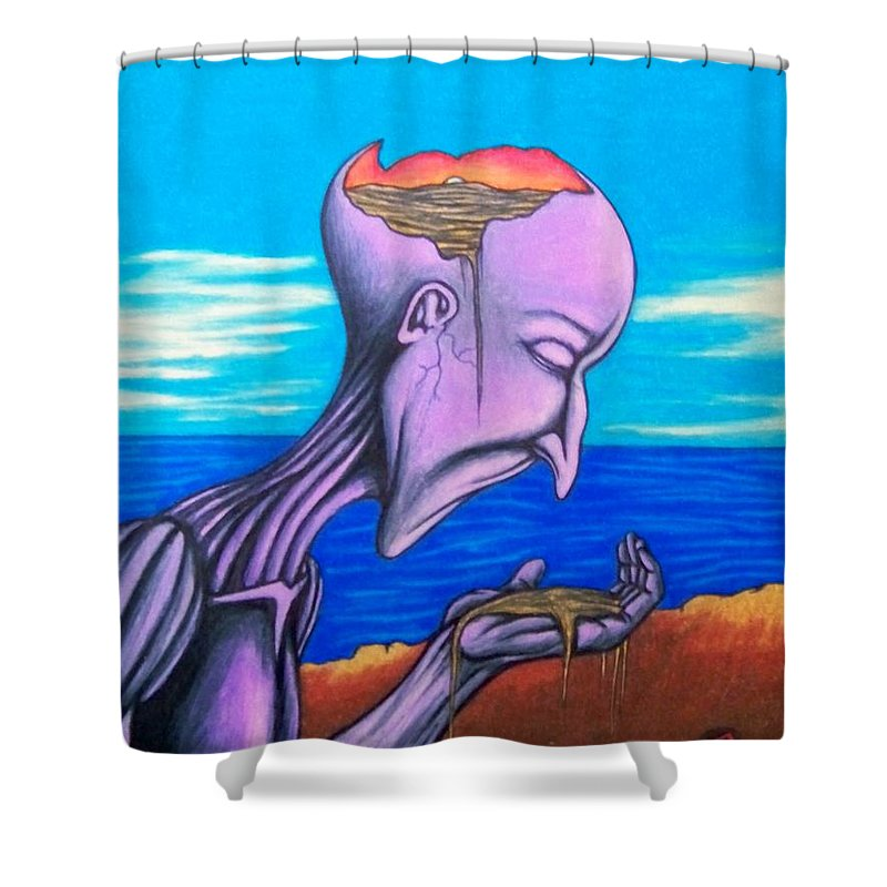 Michael Shower Curtain featuring the drawing Conscious Thought by Michael TMAD Finney