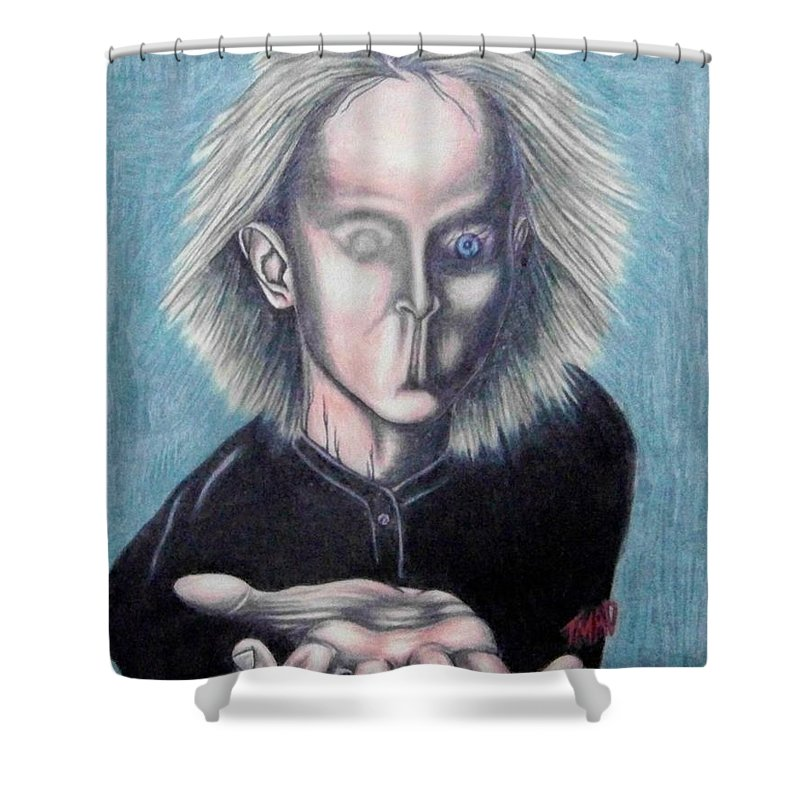 Tmad Shower Curtain featuring the drawing Consciousness by Michael TMAD Finney