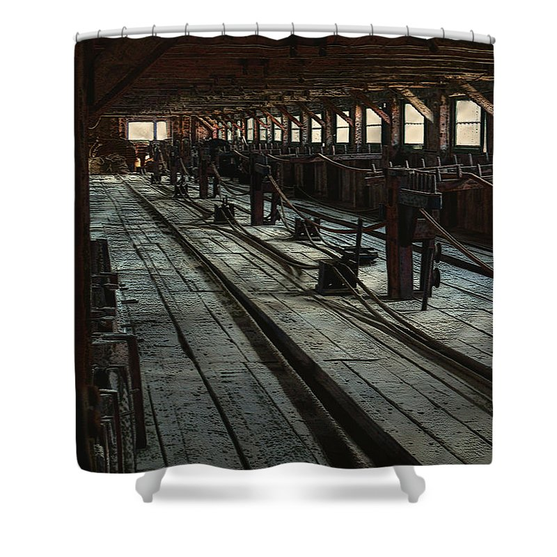 Historical Shower Curtain featuring the painting Consigned To Hell by RC DeWinter