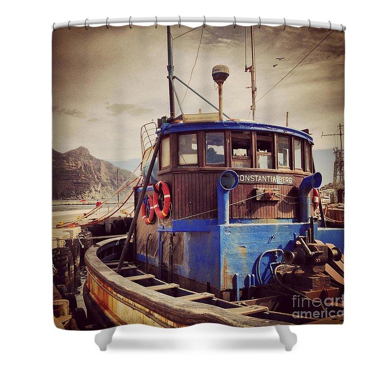 Boat; Harbor; Harbour; Port; Dock; Wharf; Berth; Quay; Pier; Landing Pier; Anchorage; Bay; Haven; Marina; Ship; Sea; Ocean; Water; Nautical; Shore; Nautical; Coast; Maritime; Marine; Wood; Wooden; Fishermen; Fisherman; Vintage; Rust; Rusty; Old; Buoy; Navigation; Bight; Firth Shower Curtain featuring the photograph Constantia Berg by Runaldo Ferre