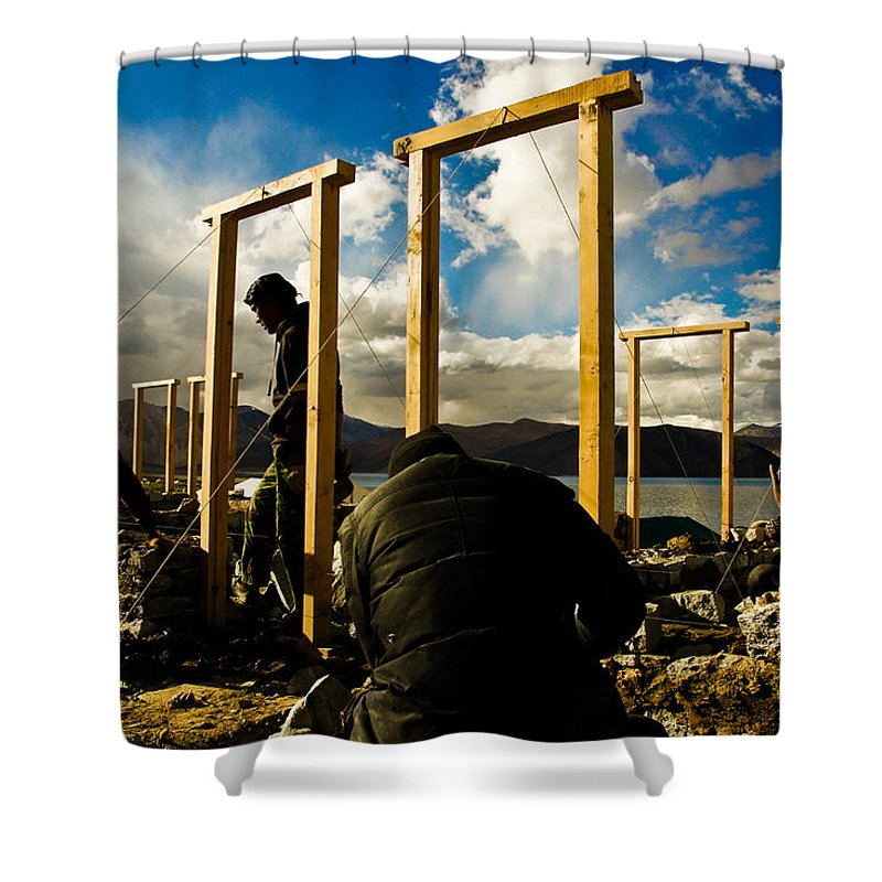 Photograph Shower Curtain featuring the photograph Construction In Ladakh by Indrajit Khambe