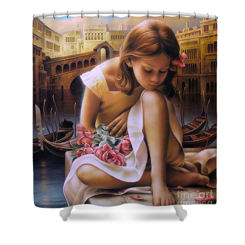 Portrait Shower Curtain featuring the painting Consuelo by Arthur Braginsky