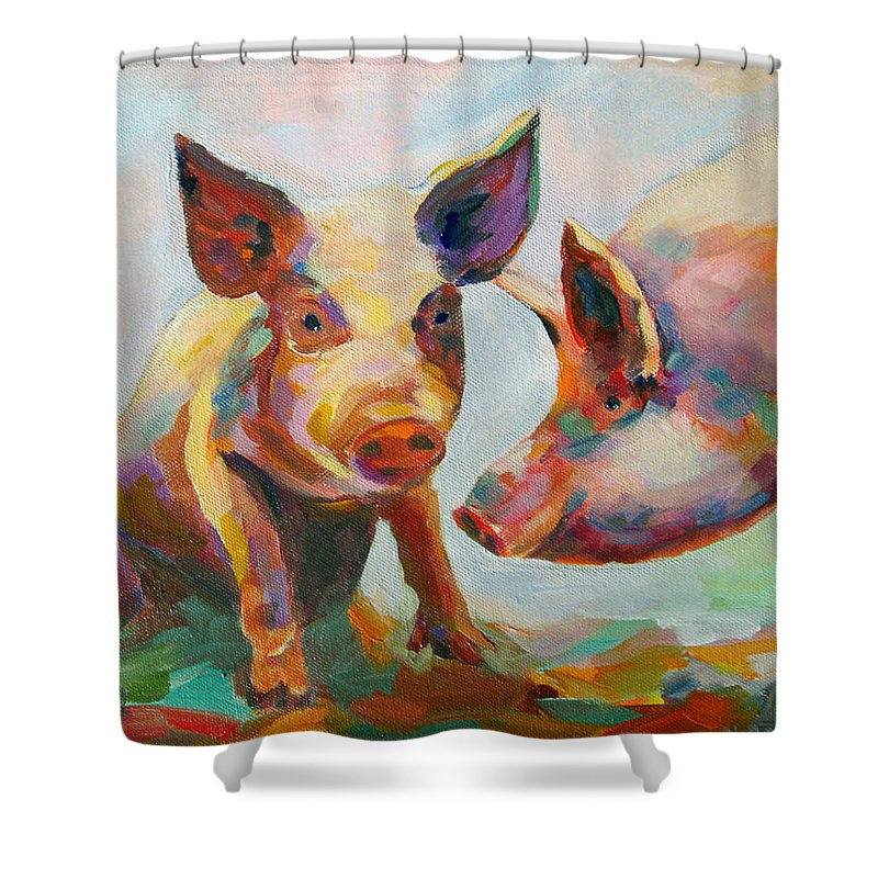 Pigs Shower Curtain featuring the painting Consultation by Naomi Gerrard