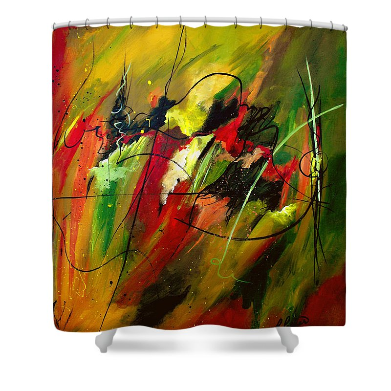 Abstract Shower Curtain featuring the painting Contemplating Perseverance by Ruth Palmer
