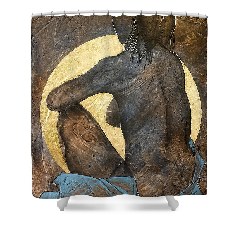 Nude Shower Curtain featuring the painting Contemplation by Richard Hoedl