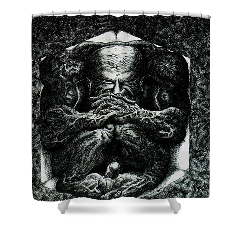 Dark Shower Curtain featuring the drawing Contemplation by Tobey Anderson