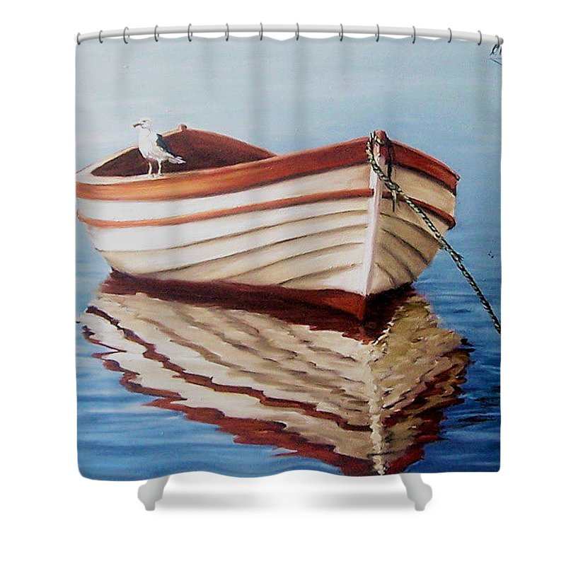 Sea Seascape Boat Reflections Water Ocean Seagull Bird Shower Curtain featuring the painting Contemplative by Natalia Tejera