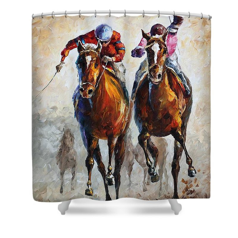 Afremov Shower Curtain featuring the painting Contenders by Leonid Afremov