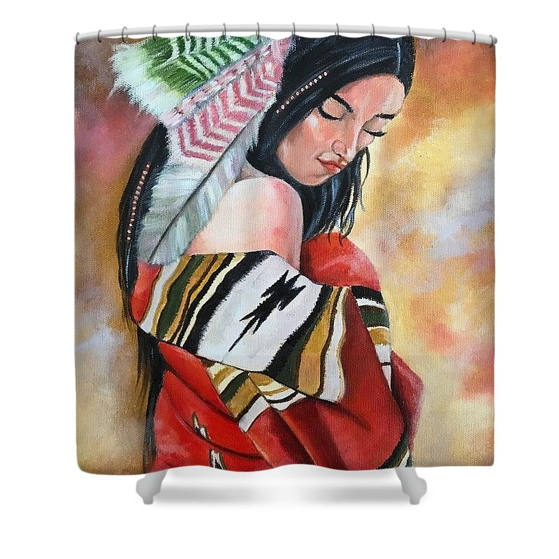 Native American Shower Curtain featuring the painting Contentment by Daniel Cappiello