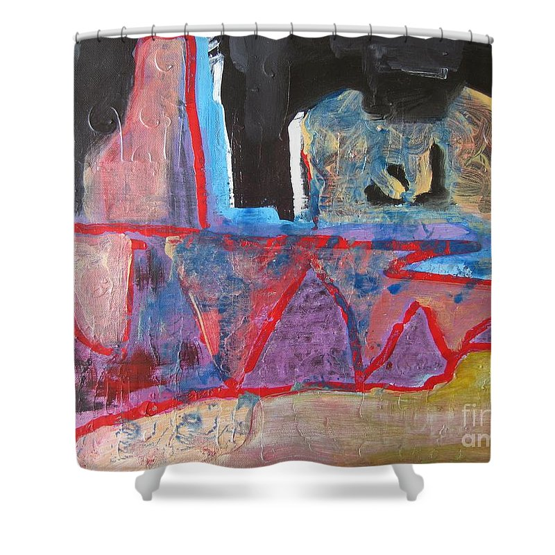 Abstract Paintings Shower Curtain featuring the painting Contradiction Of Time by Seon-Jeong Kim