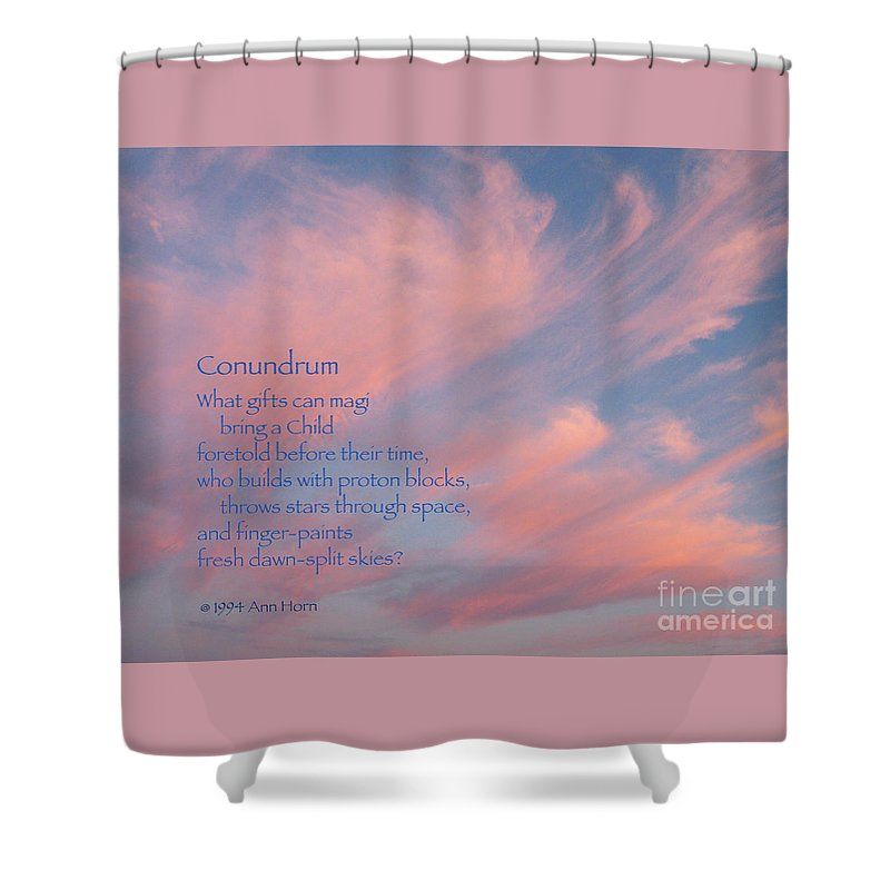 Sky Shower Curtain featuring the photograph Conundrum by Ann Horn