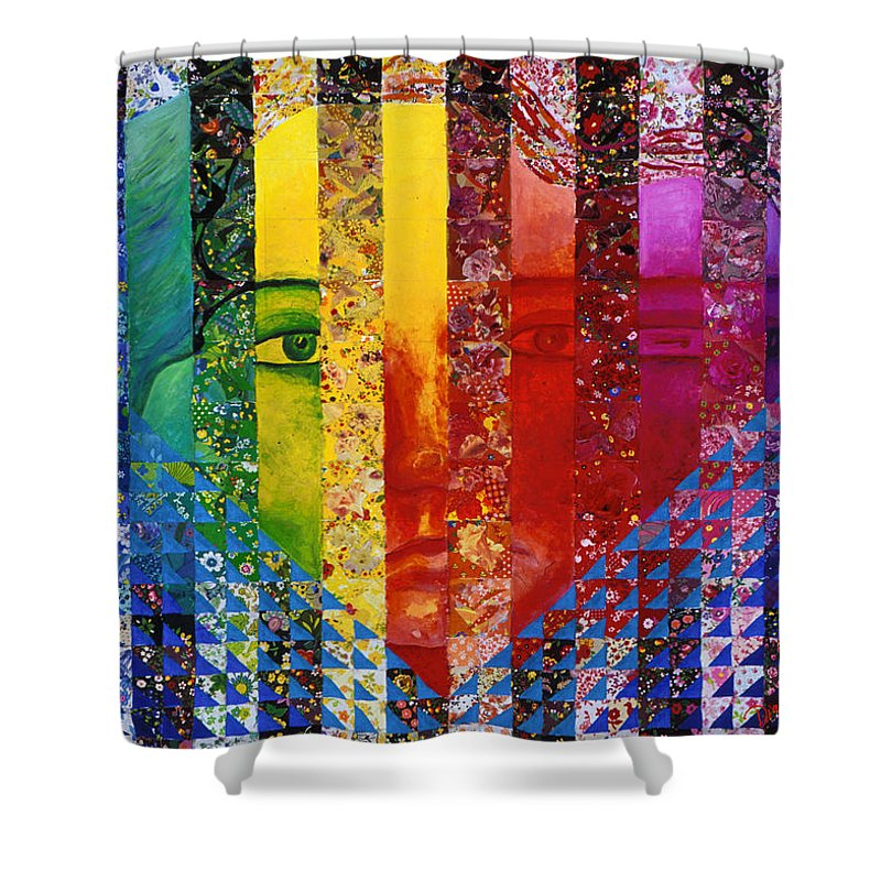 Colorful Shower Curtain featuring the mixed media Conundrum I - Rainbow Woman by Diane Clancy