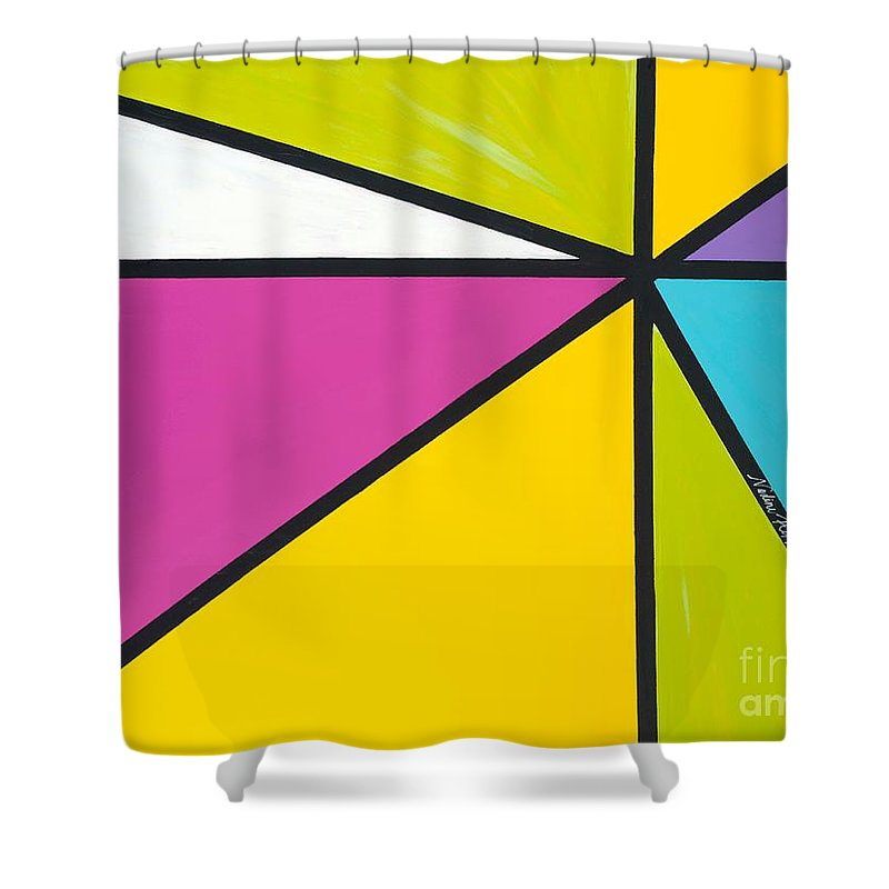Lines Shower Curtain featuring the painting Convergence by Nadine Rippelmeyer