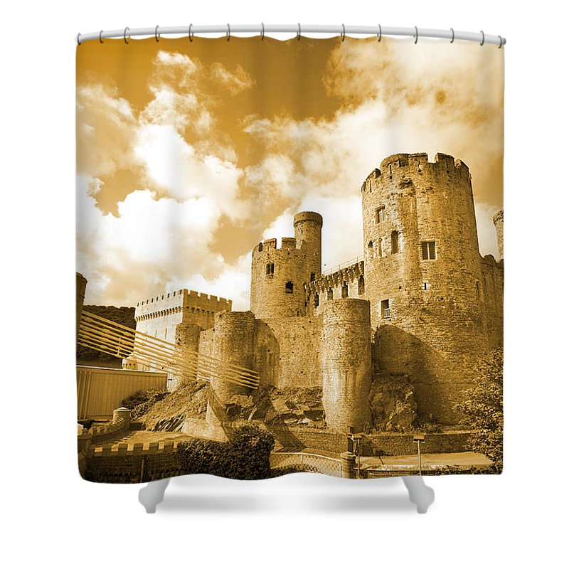 Castle Shower Curtain featuring the photograph Conwy Castle And The Telford Suspension Bridge North Wales by Mal Bray