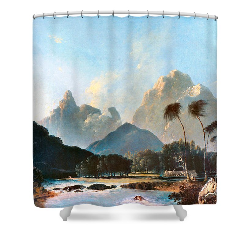 1773 Shower Curtain featuring the painting Cook: Tahiti, 1773 by Granger