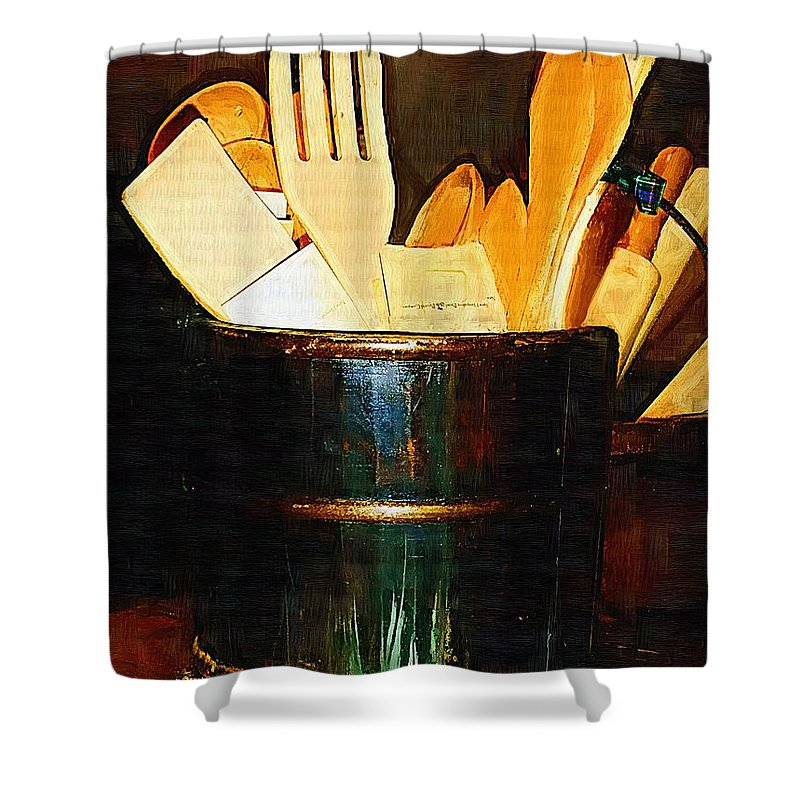 Bucket Shower Curtain featuring the painting Cooking Retro by RC DeWinter