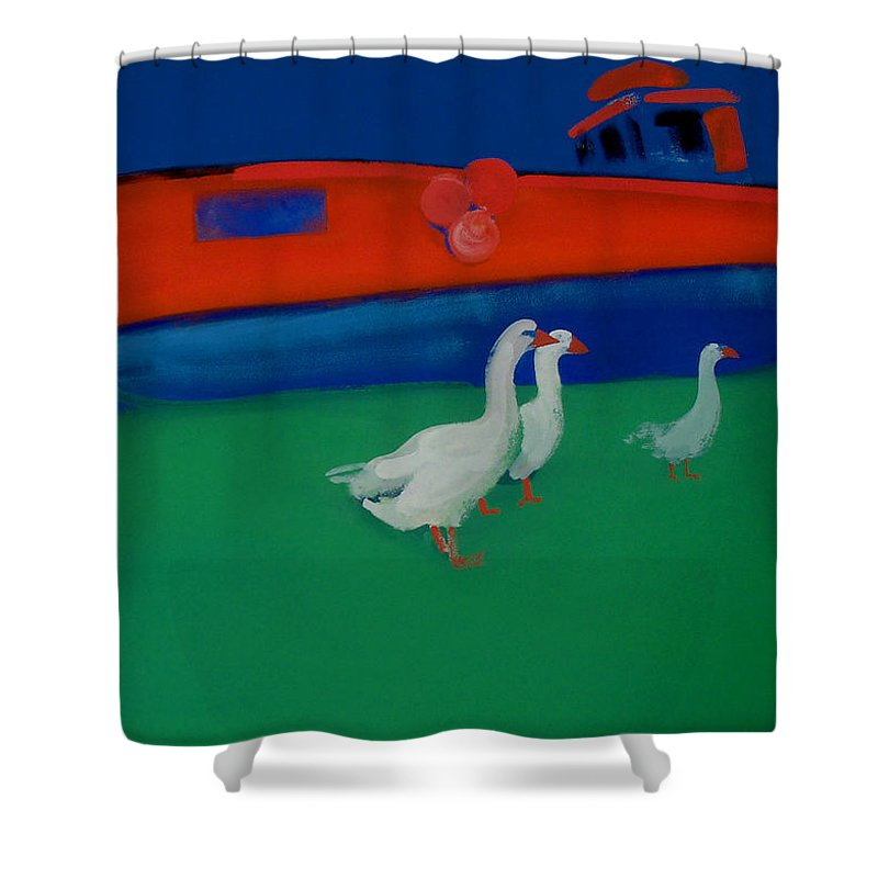 Geese Shower Curtain featuring the painting Cool And Dry by Charles Stuart