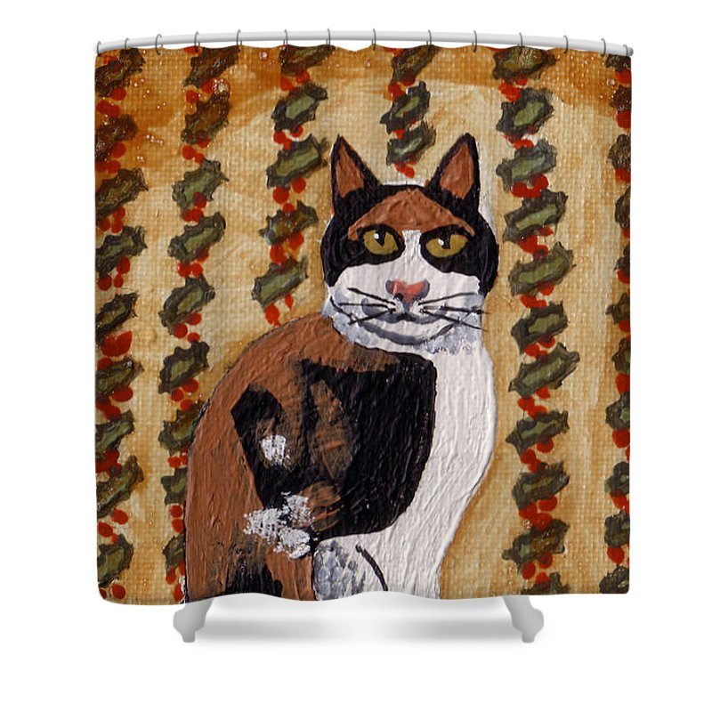 Calico Cat Shower Curtain featuring the painting Cool Calico Cat by Genevieve Esson