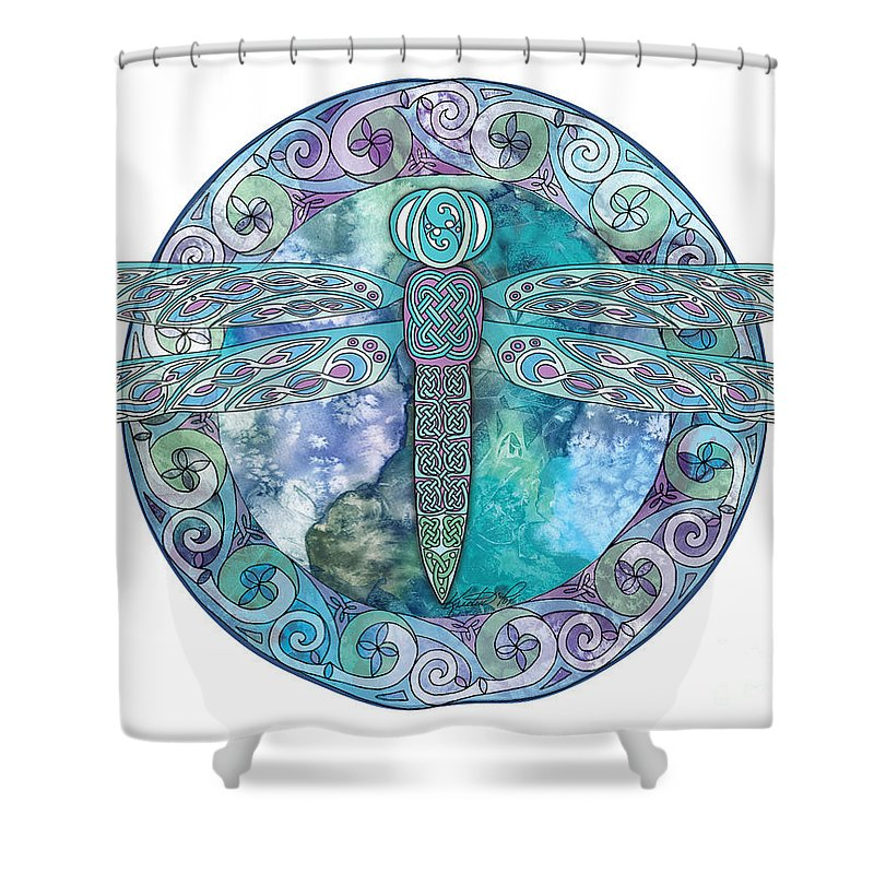 Artoffoxvox Shower Curtain Featuring The Mixed Media Cool Celtic Dragonfly By Kristen Fox