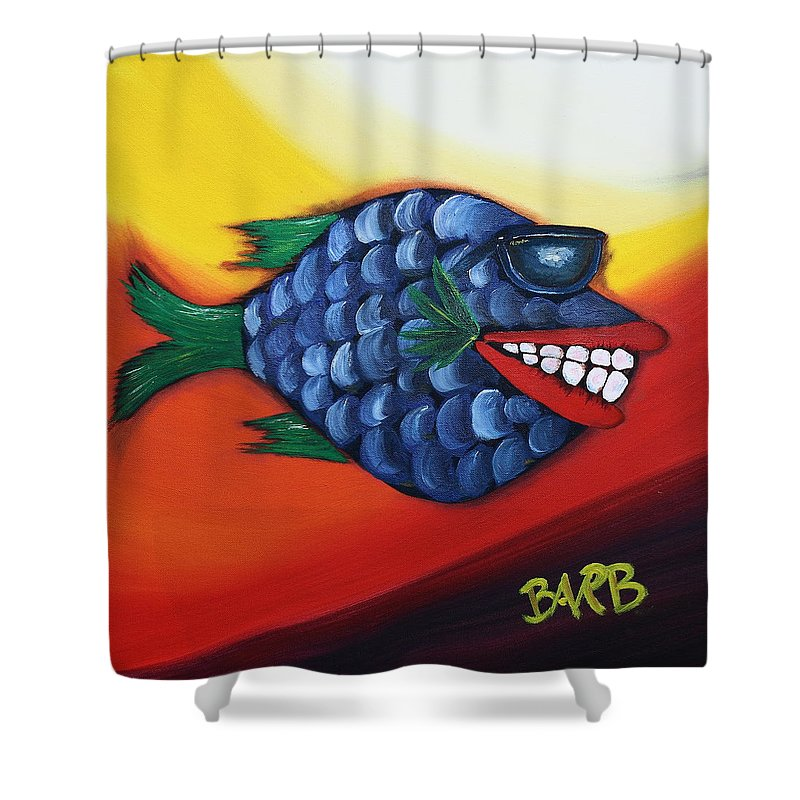 Ray Ban Shower Curtain featuring the painting Cool Dude by Barbara Teller