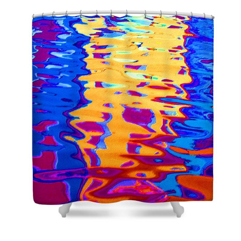 Abstract Shower Curtain featuring the pastel Cool Meets Warm by Donna Corless