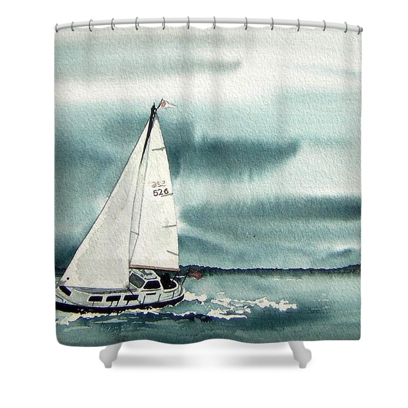 Sailing Shower Curtain featuring the painting Cool Sail by Gale Cochran-Smith