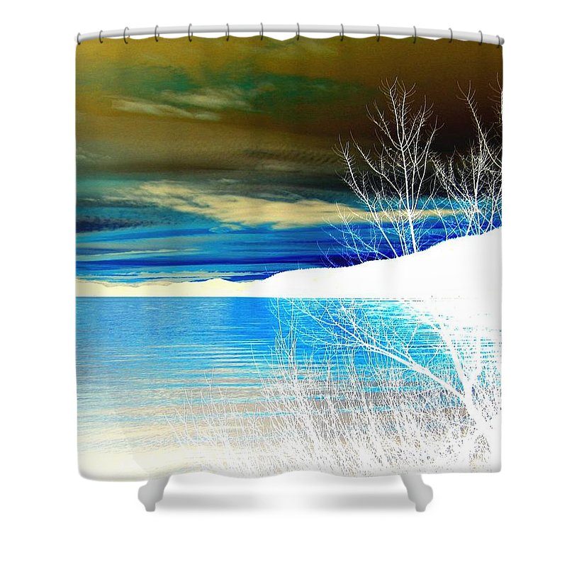 Winter Shower Curtain featuring the digital art Cool Waters by Will Borden