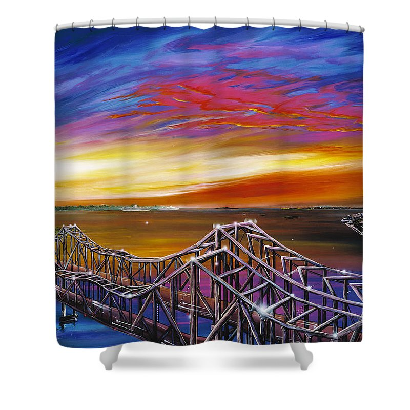 Clouds Shower Curtain featuring the painting Cooper River Bridge by James Christopher Hill