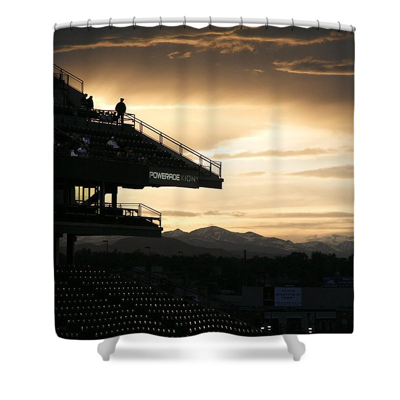 Americana Shower Curtain featuring the photograph Coors Field At Sunset by Marilyn Hunt
