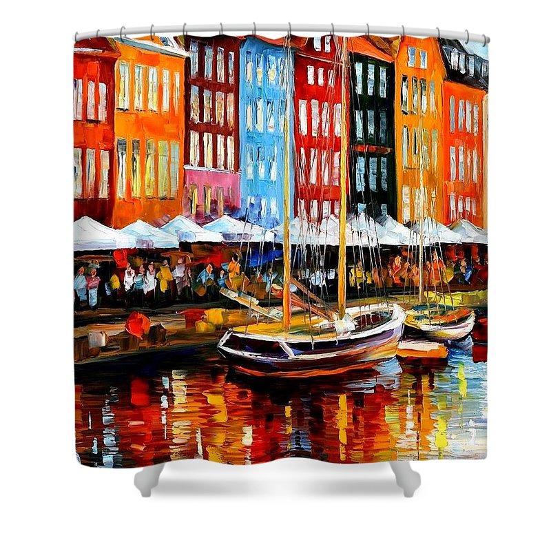 Afremov Shower Curtain featuring the painting Copenhagen Denmark by Leonid Afremov