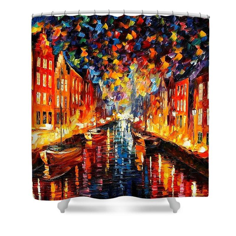 Afremov Shower Curtain featuring the painting Copenhagen by Leonid Afremov