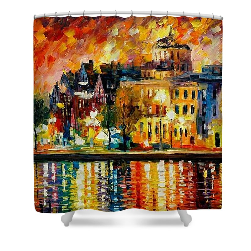 City Shower Curtain featuring the painting Copenhagen Original Oil Painting by Leonid Afremov