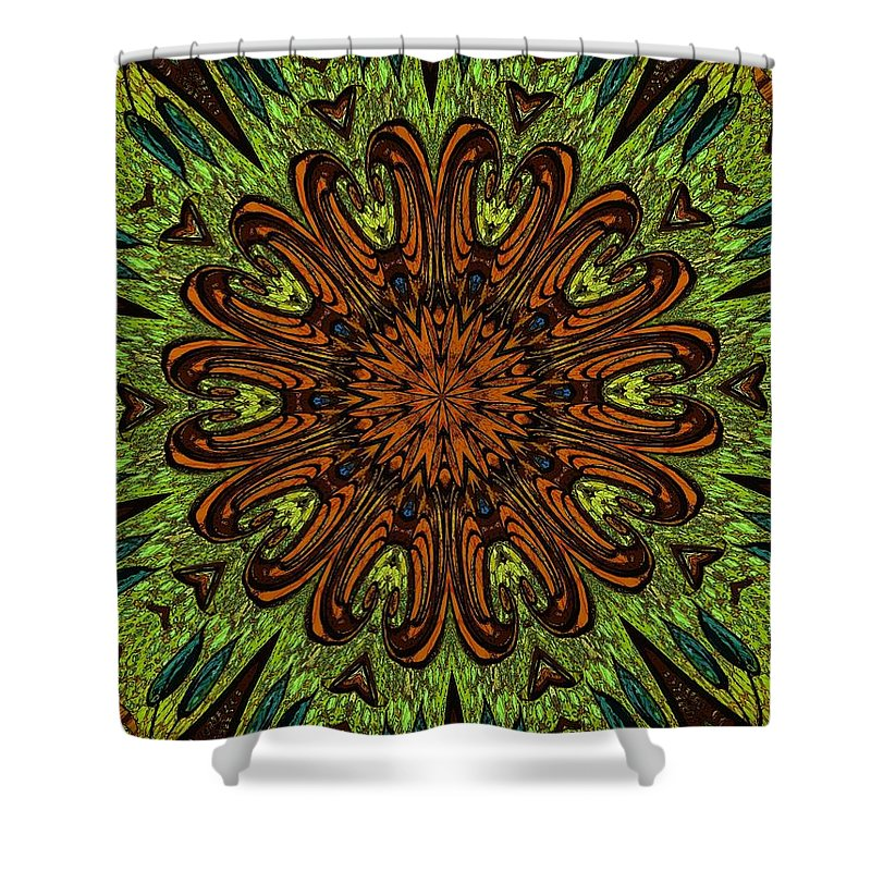 Shower Curtain featuring the digital art Copper Jewel by Donna Graves