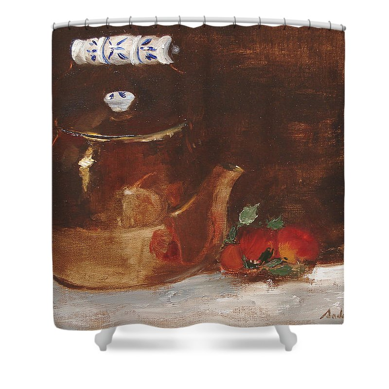 Kitchen Shower Curtain featuring the painting Copper Kettle by Barbara Andolsek