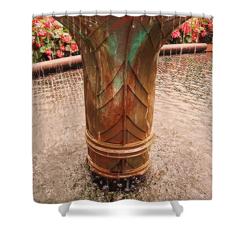 Copper Fountain Shower Curtain featuring the painting Copper Water Fountain by Eric Schiabor