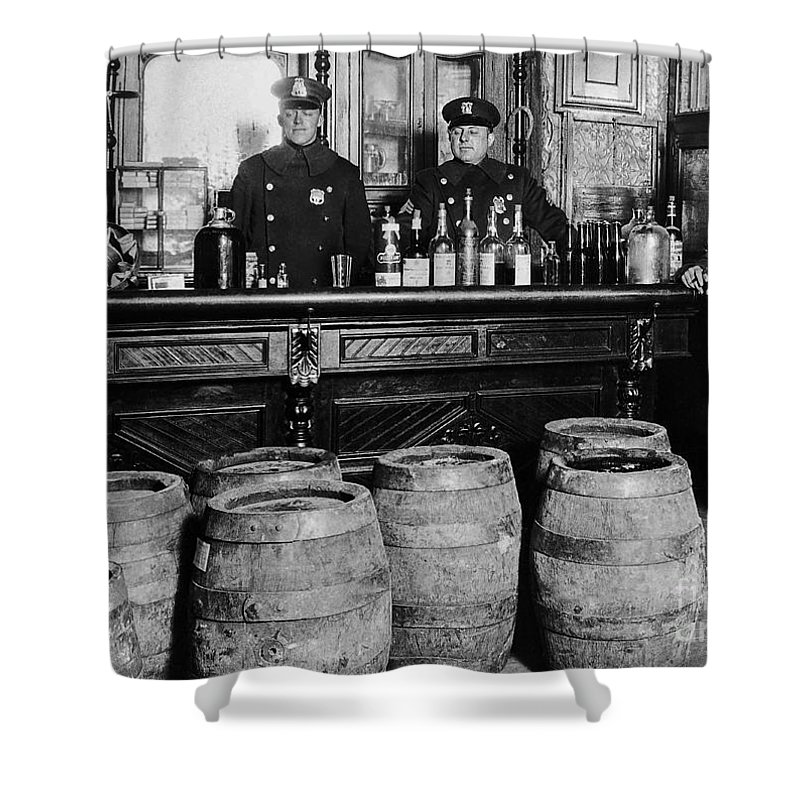 Prohibition Shower Curtain featuring the photograph Cops At The Bar by Jon Neidert