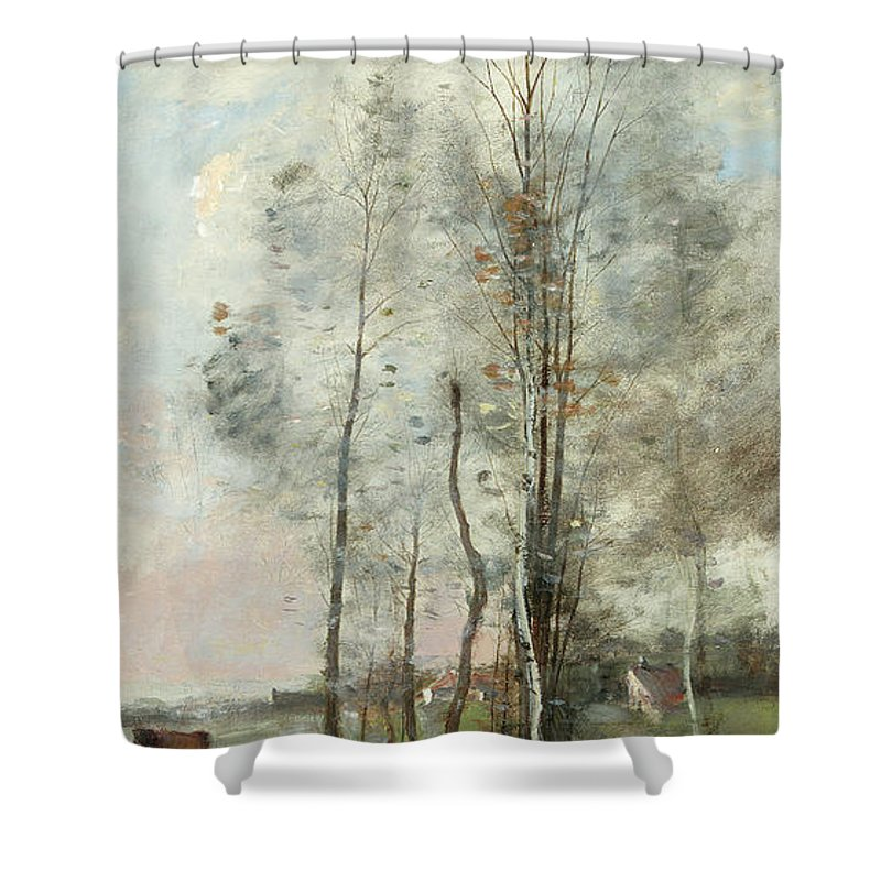 Corot Shower Curtain Featuring The Painting Copse Of Alder And Birch By Jean Baptiste Camille