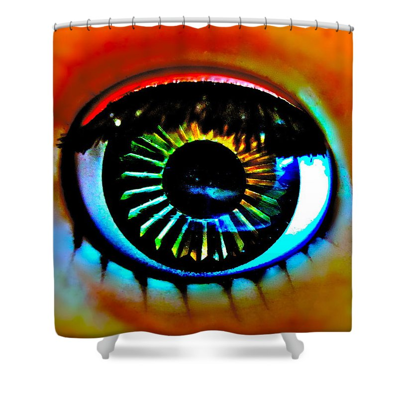 Photograph Of Doll Eye Shower Curtain featuring the photograph Coquettish by Gwyn Newcombe