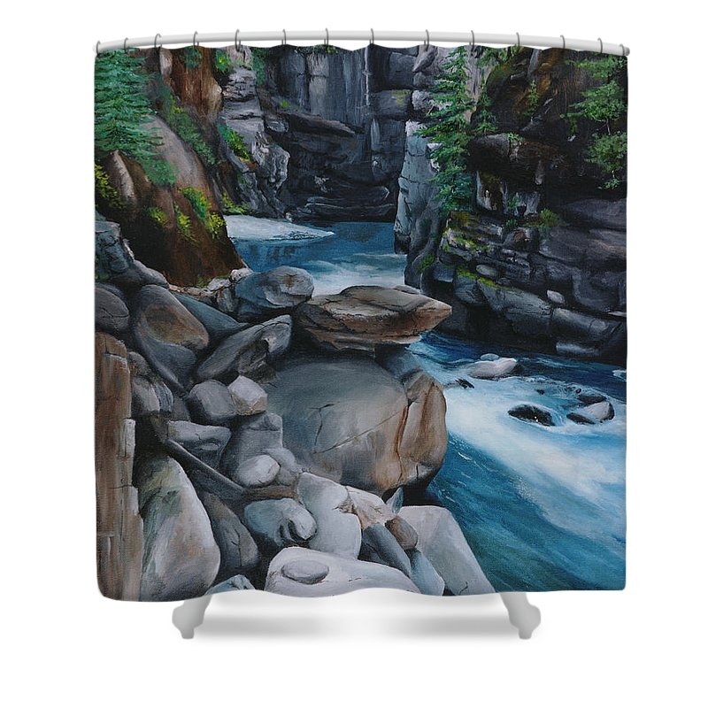 Coquihalla Shower Curtain featuring the painting Coquihalla Canyon by Glen Frear