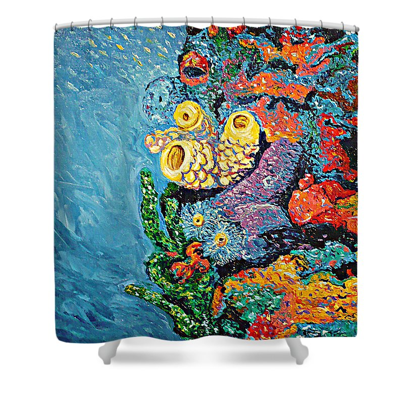 Coral Shower Curtain featuring the painting Coral With Cucumber by Ericka Herazo