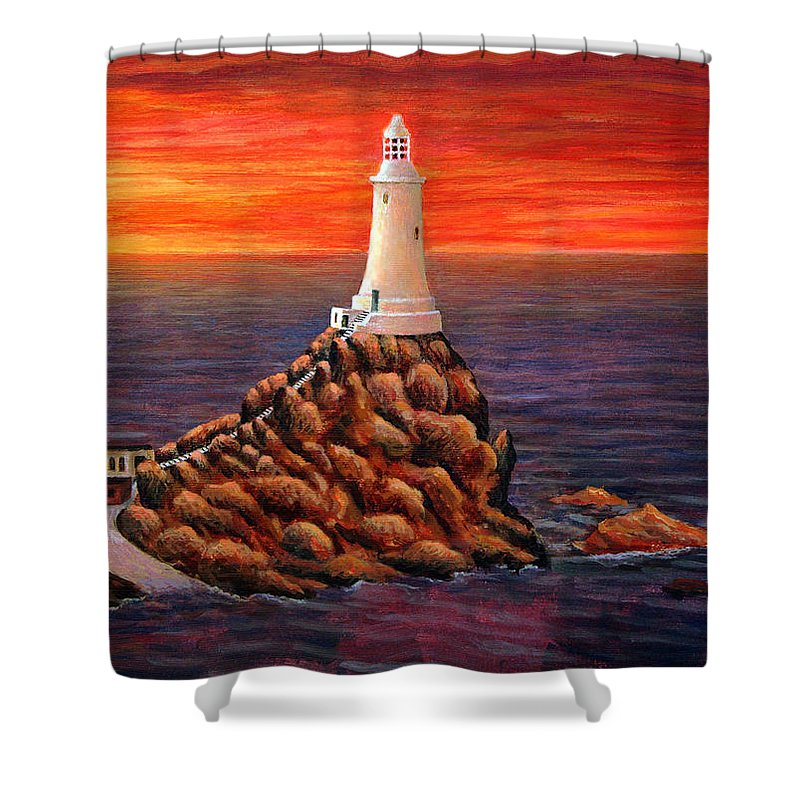 Beautiful Sunset Shower Curtain featuring the painting Corbiere Lighthouse - Jersey by Ronald Haber