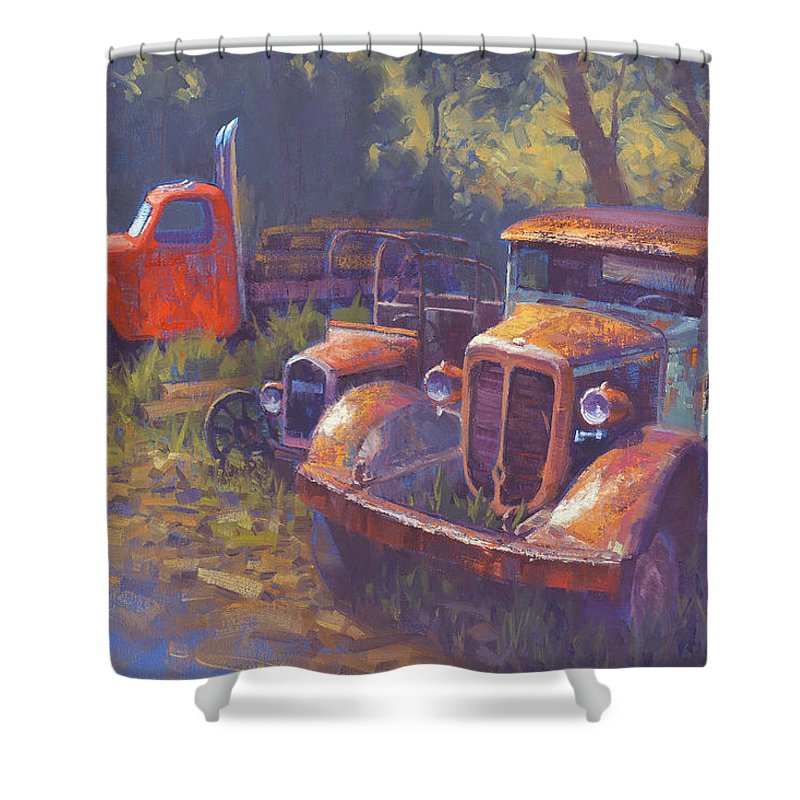 Old Trucks Shower Curtain featuring the painting Corbitt And Friends by Cody DeLong