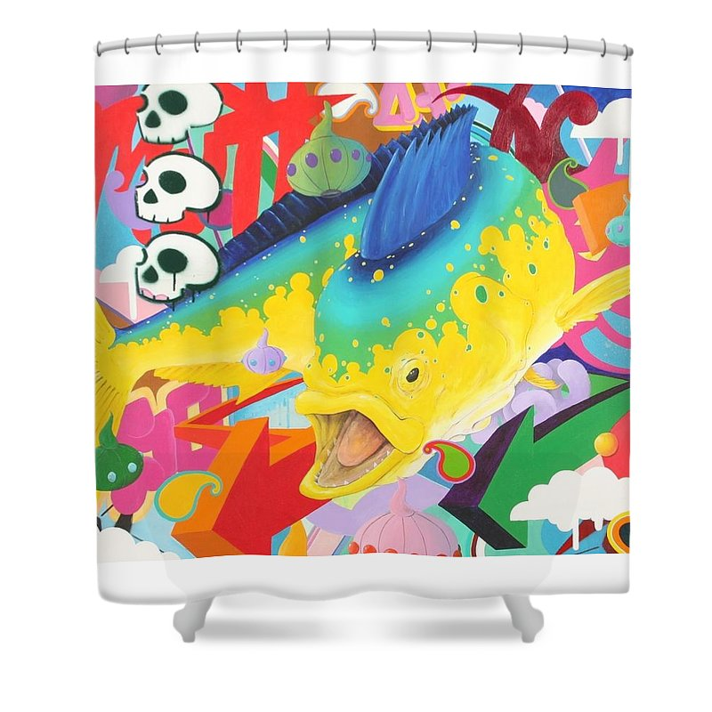 Mahi Shower Curtain featuring the painting Coreyphania Hip-hoperous by Mutt Hubbard