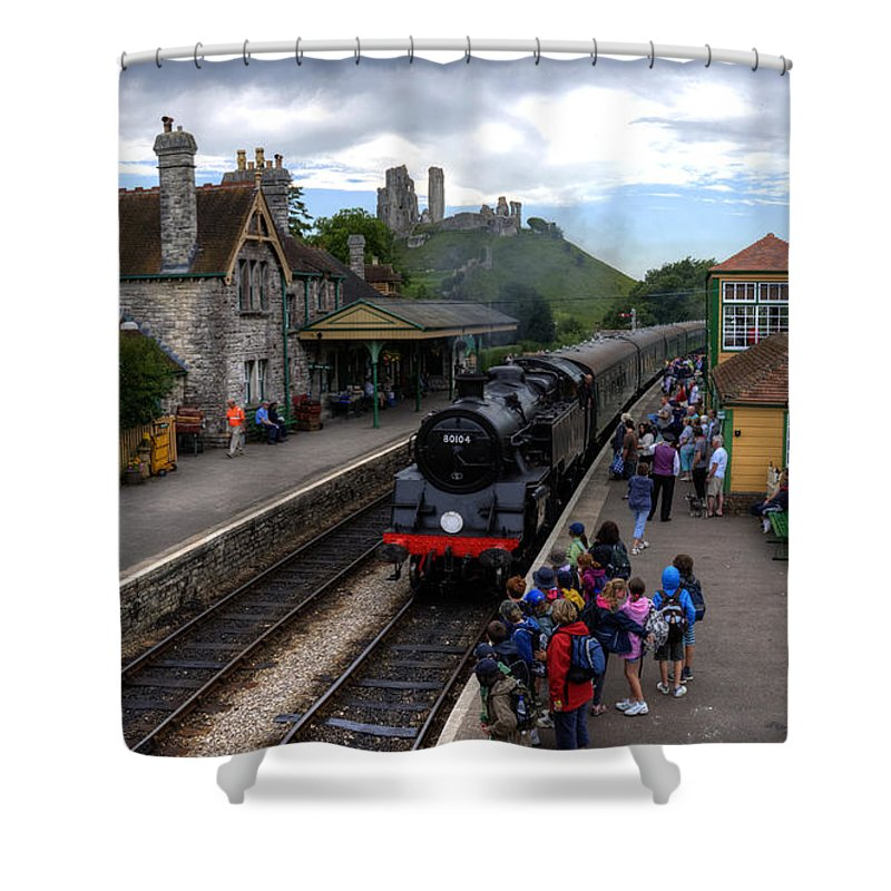 Railway Shower Curtain featuring the photograph Corfe Castle Station by Rob Hawkins