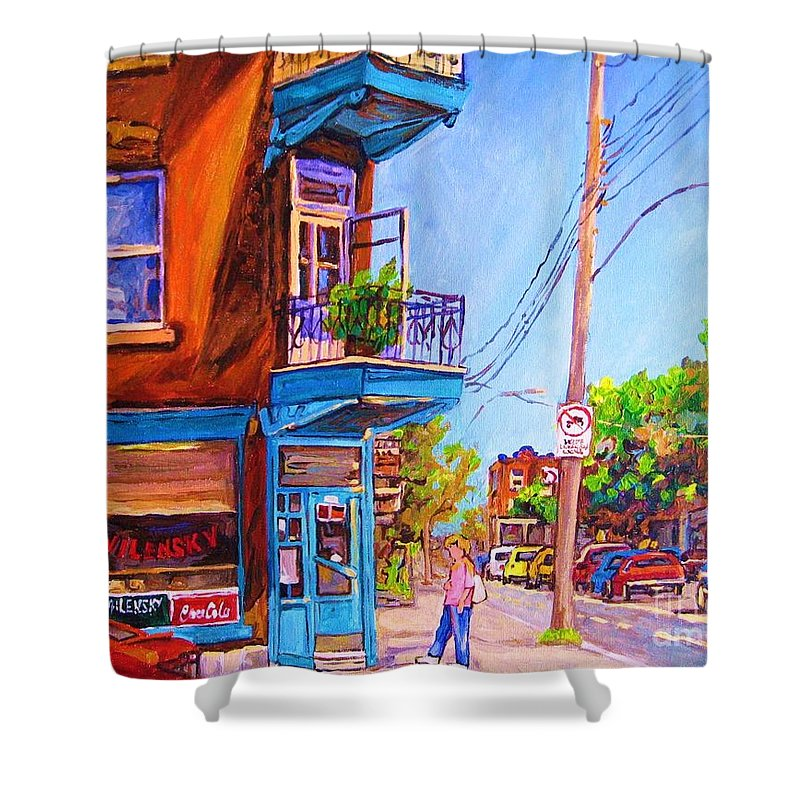 Wilenskys Corner Fairmount And Clark Shower Curtain featuring the painting Corner Deli Lunch Counter by Carole Spandau