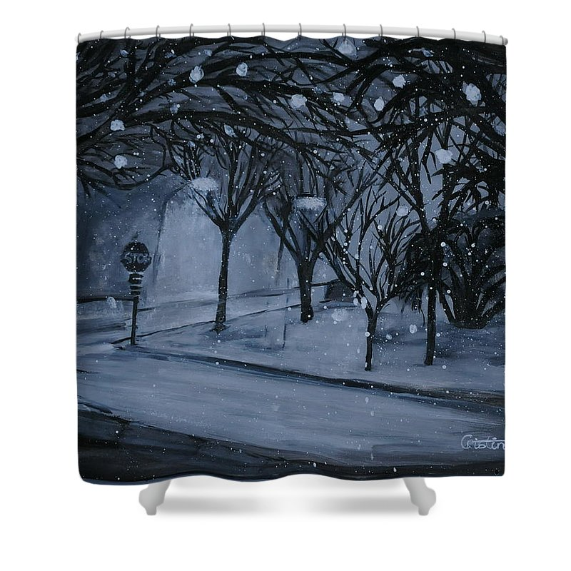 Tempera Shower Curtain featuring the painting Corner Of Broadway And Wilson by Cristina Sofineti