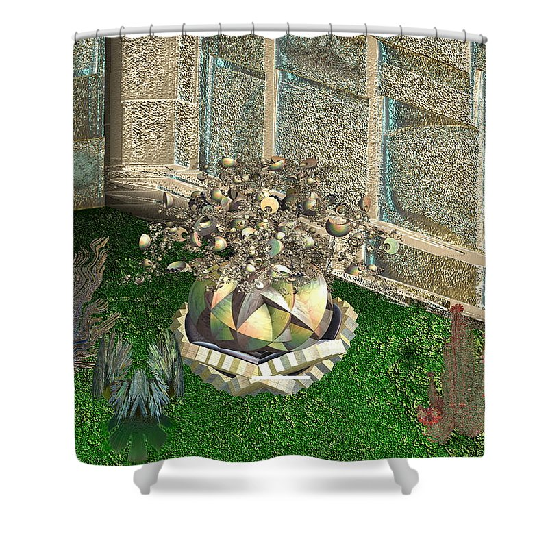 Futurist Shower Curtain featuring the digital art Corner Of The Garden by Bad Monkey