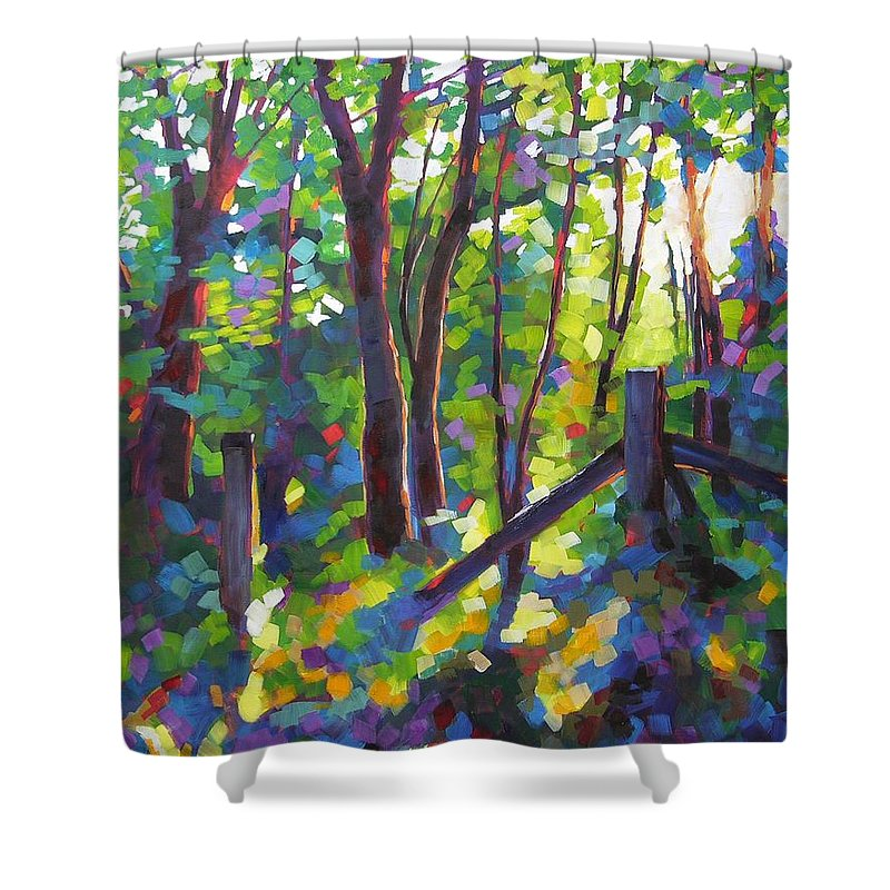 Trees Shower Curtain featuring the painting Corner Post by Mary McInnis