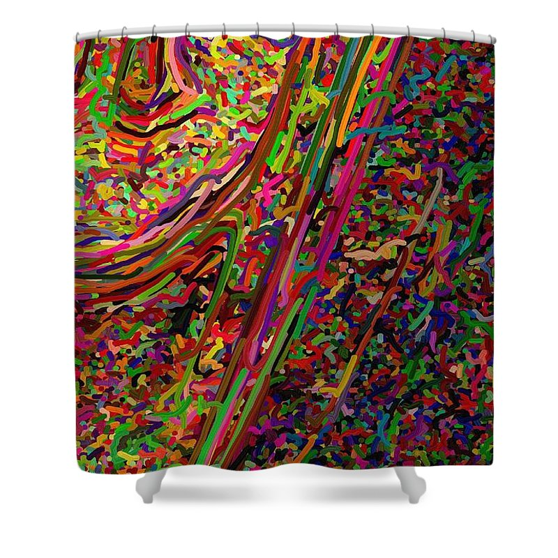 In-half Shower Curtain featuring the digital art Cornered by April Patterson